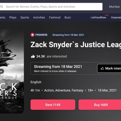 Over 31,000 of You Pre-Ordered Snyder Cut on BookMyShow Stream