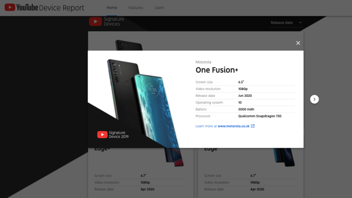 Motorola One Fusion Plus YouTube Device Report Screenshot Motorola One Fusion Plus
