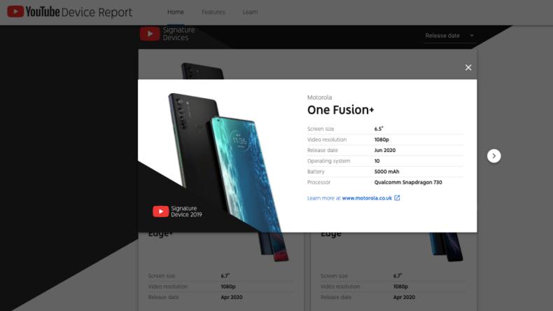 motorola one fusion plus youtube device report screenshot Motorola One Fusion Plus