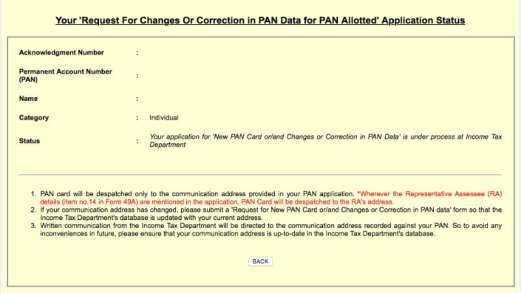 pan card application status PAN card