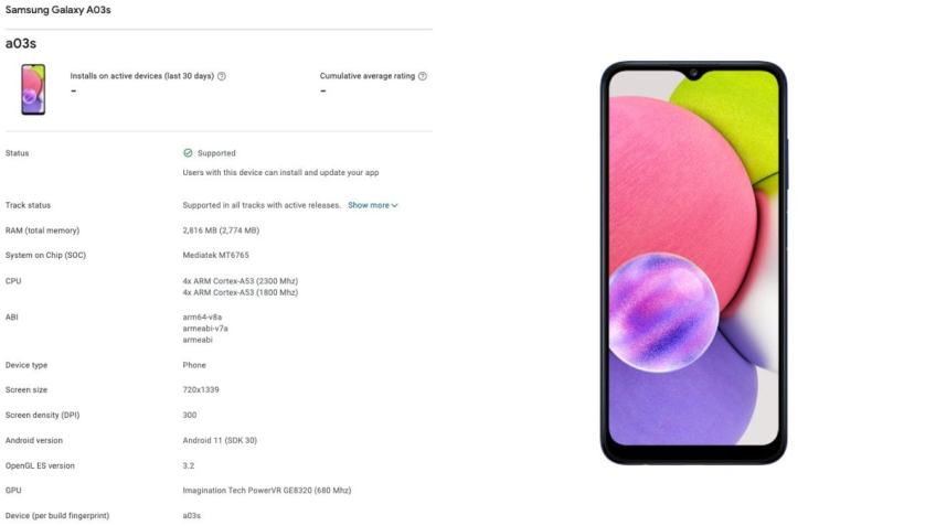 Samsung Galaxy A03s Specifications, Design Details Have Surfaced in New Leak