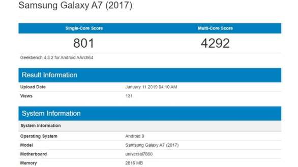 Samsung Galaxy A7 (2017) May Get Android 9.0 Pie Update, Geekbench Listing Tips