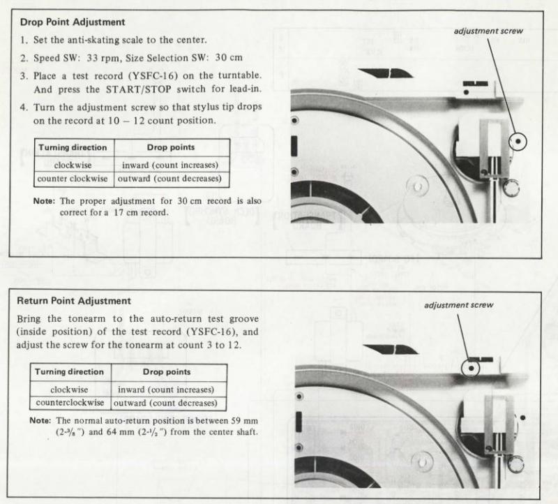 reglage course bras platine vinyle