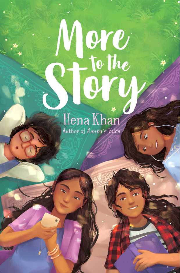 'More to the Story' is on my Goodreads TBR.  Four girls lay on a tri-colored blanket. One of the girls is holding a smart phone. Another girl is holding a book. 'More to the Story' is written in script font, at the top of the image.