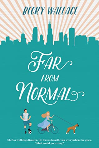 Far From Normal written in white text. A man stands with a soccer ball. A woman rides a bicycle while walking adog.