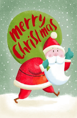 99 Heart warming Cartoon Christmas Cards   GraphicMama Blog santa claus holding bag of presents