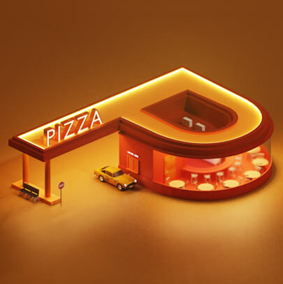 Letter P Modern 3D typography design trend
