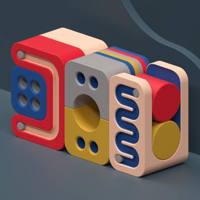 3D elements design concept in 2021