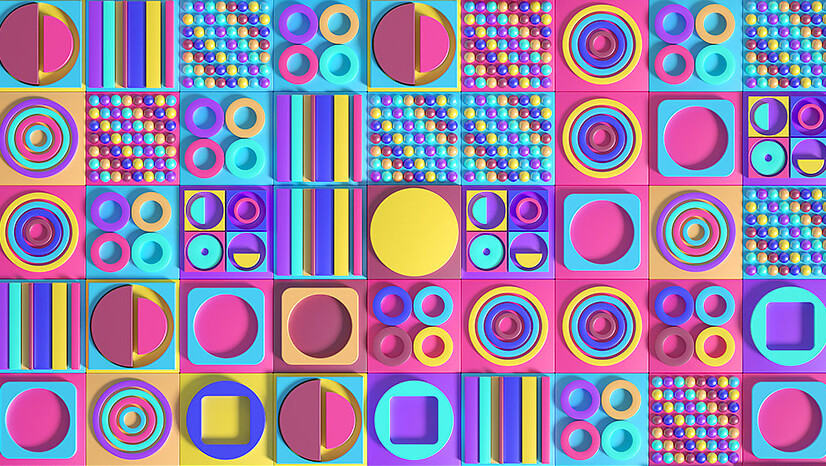 Modern pattern design with 3D elements in 2021