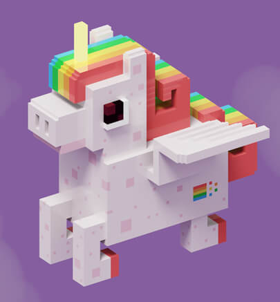 3D unicorn character illustration in 3D voxel style trend