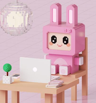 3d voxel rabbit graphic design trend example