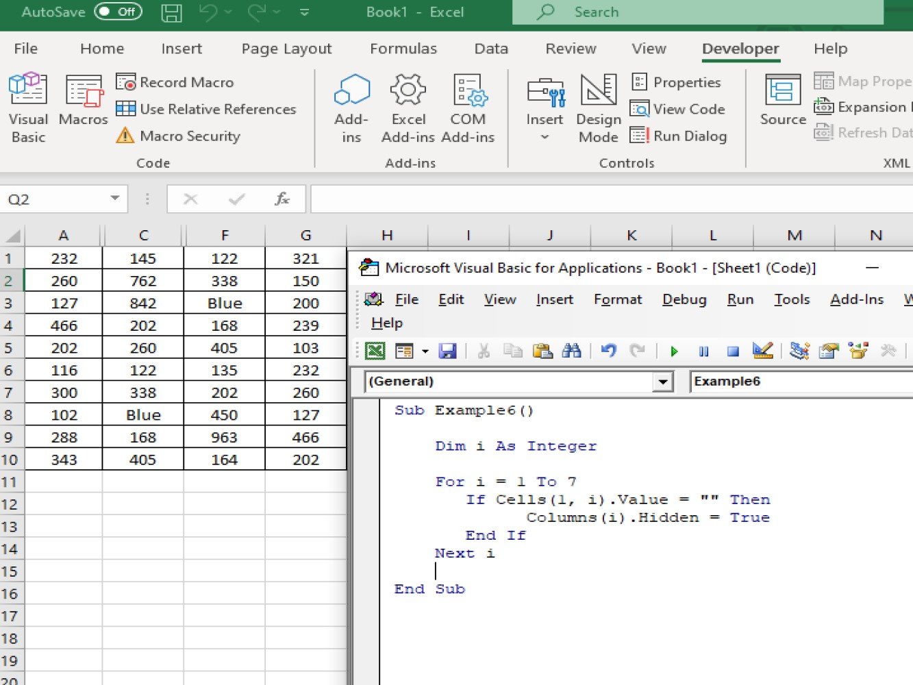 Hide Columns With Excel Vba Hide Column