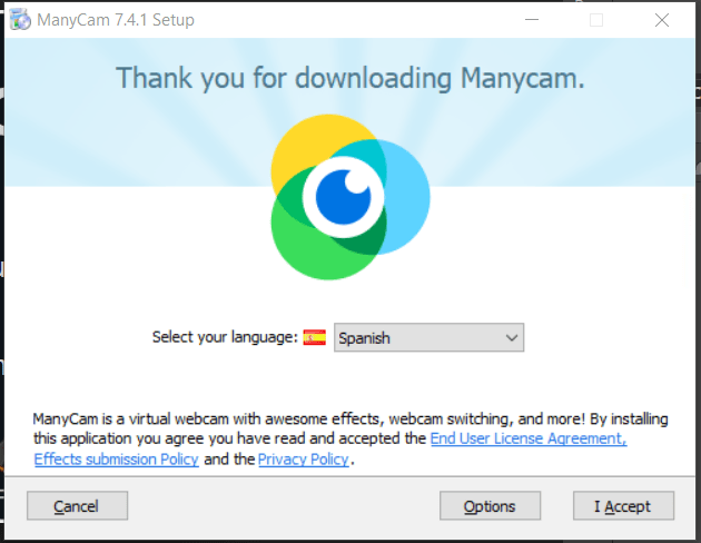 Seleccionar idioma en instalación manycam