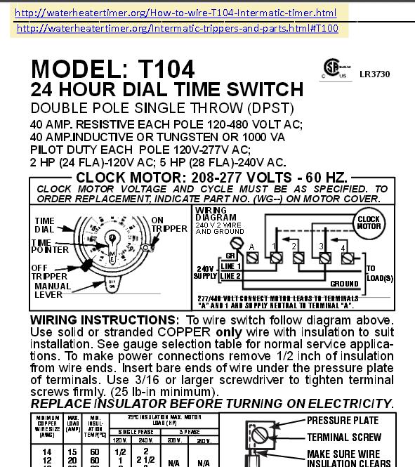 Wiring A T 105 104 120 240 Volt Timer