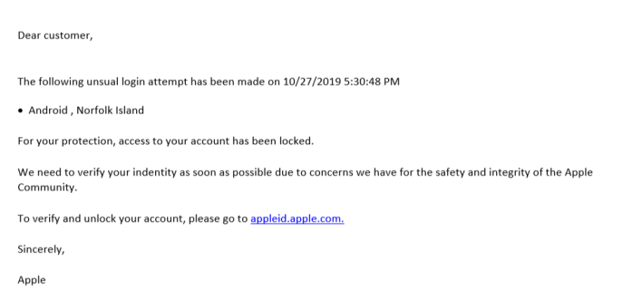 como identificar un virus de pishing. Analizando el mail recibido.