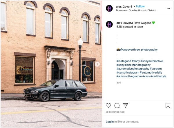 Instagram post with the photo of a car and the hashtag #instagood