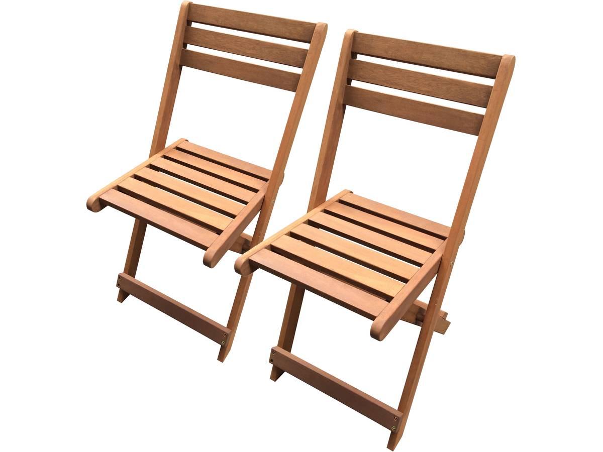 lot de 2 chaises pliantes en bois