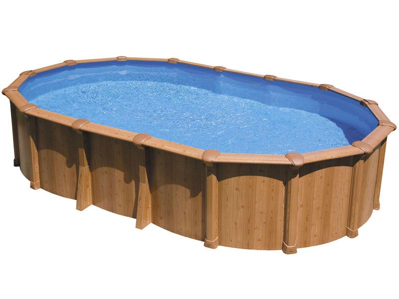 piscine aspect bois en acier ovale