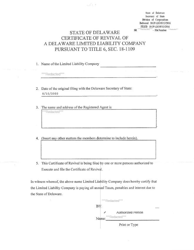 Reinstate Delaware Corporation Llc Nonprofit Harbor Compliance
