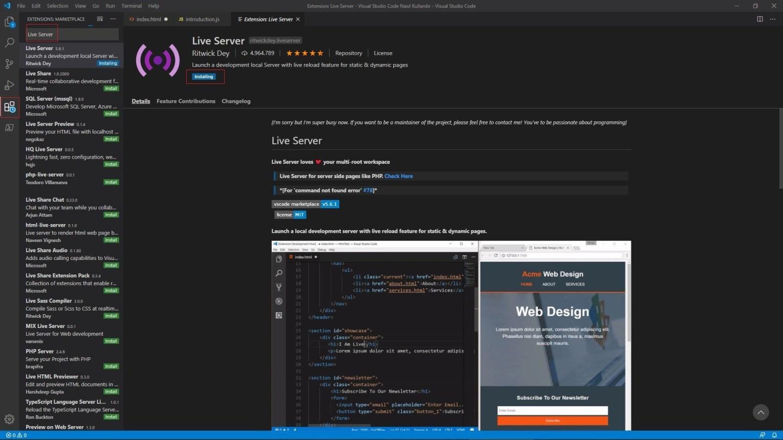 Visual Studio Code Live Server Install