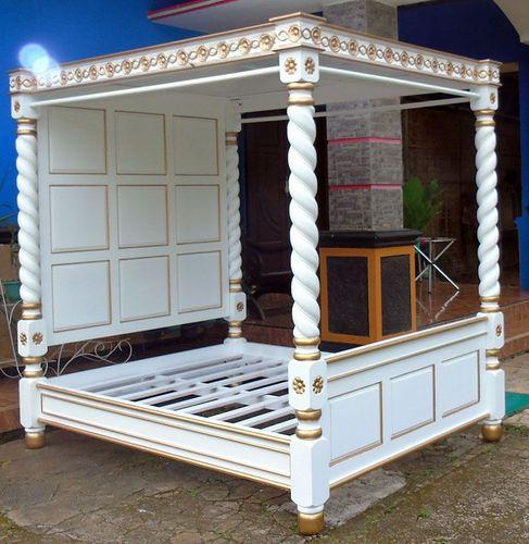 superior saulenbett weiss gold himmelbett 4 poster canopy bed schlafzimmer bett