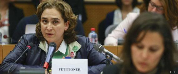 Ada Colau, en su comparecencia en el Parlamento Europeo