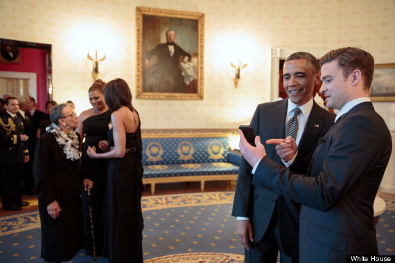 Justin Timberlake greets President Obama (with Queen Latifah in the background). May, 2013.