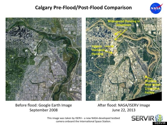Calgary Before & After, Credit: Google Earth and NASA