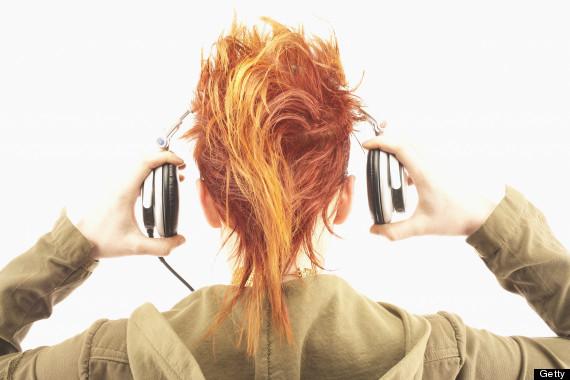 woman headphones from rear