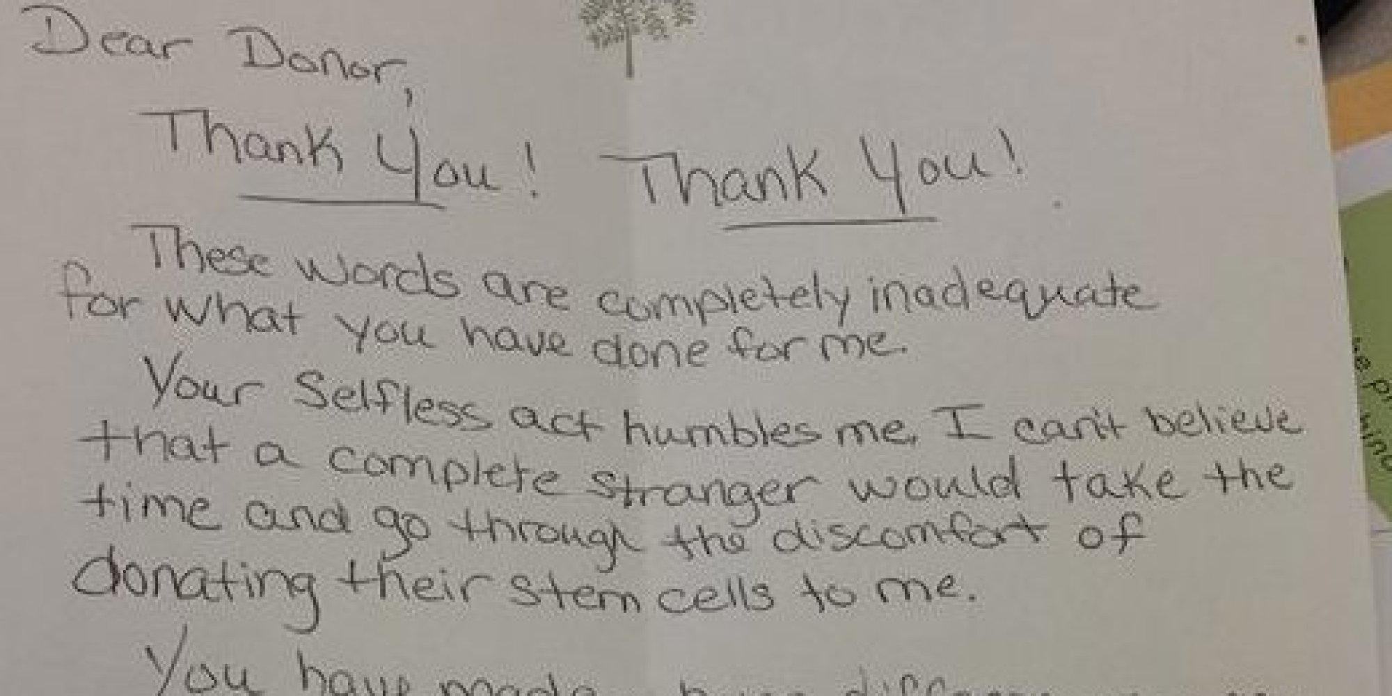 Bone Marrow Recipient Pens Beautiful Thank You Letter To
