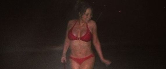 Mariah Carey bikini walk dog