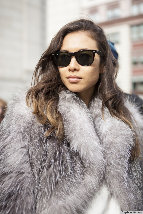 New York Fashion Week Fall 2014 Beauty Street Style Shiny