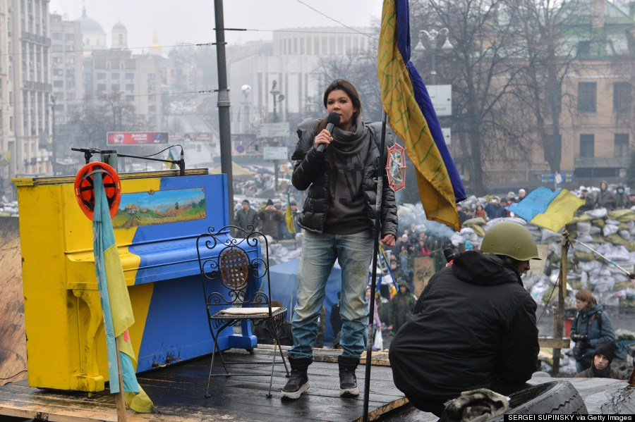 Ruslana performs on an anti-government barricade in central Kiev on Feb. 10, 2014. (SERGEI SUPINSKY/AFP/Getty Images)