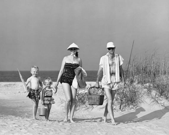 1950s couple beach