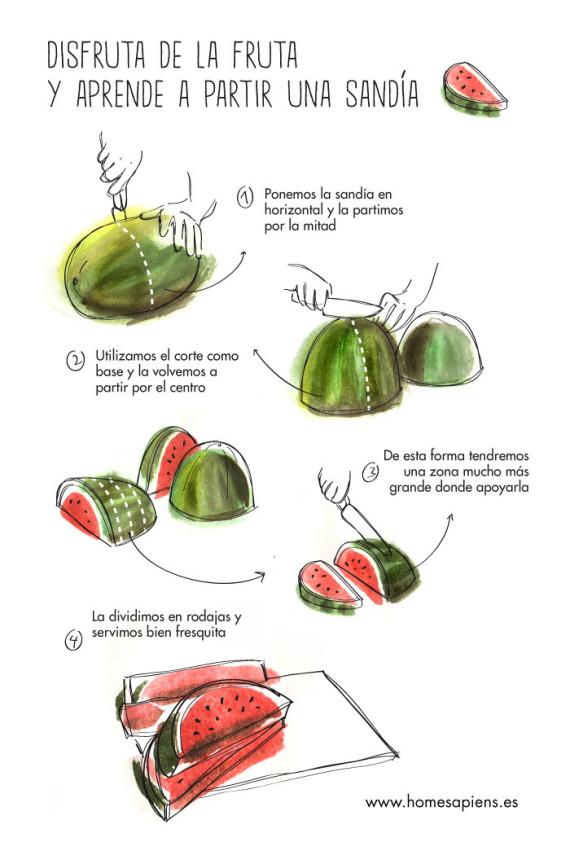 como cortar sandía