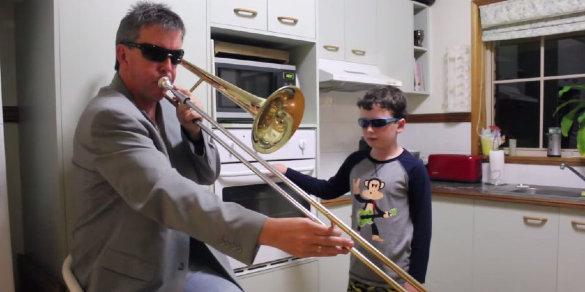 Dad On Trombone Boy On Oven Perform Cover Of The Year