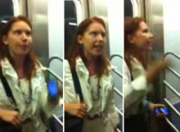 woman on subway berating a flasher