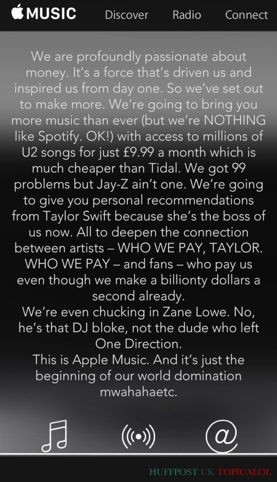 honest apple music blurb