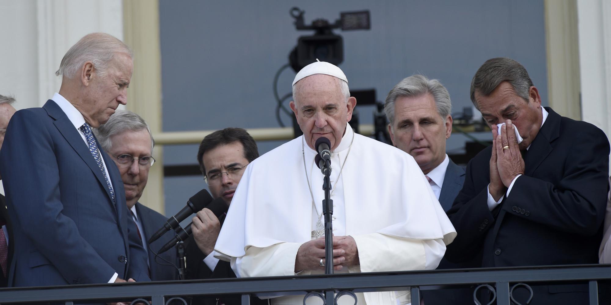 <b>Boehner</b> no pudo contener las lágrimas y la emoción con el papa