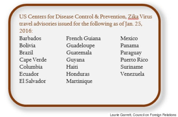 cdc travel advisories zika