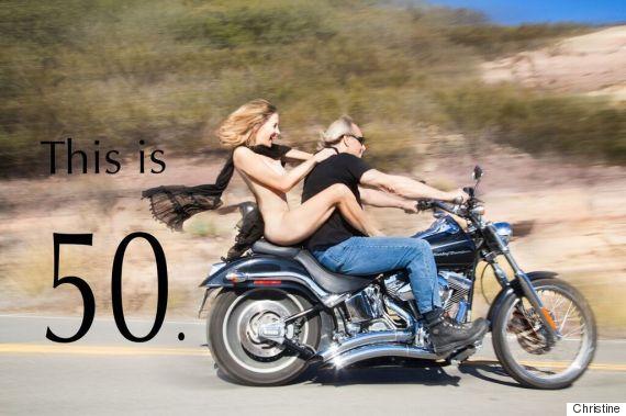 Girls on naked motorbike