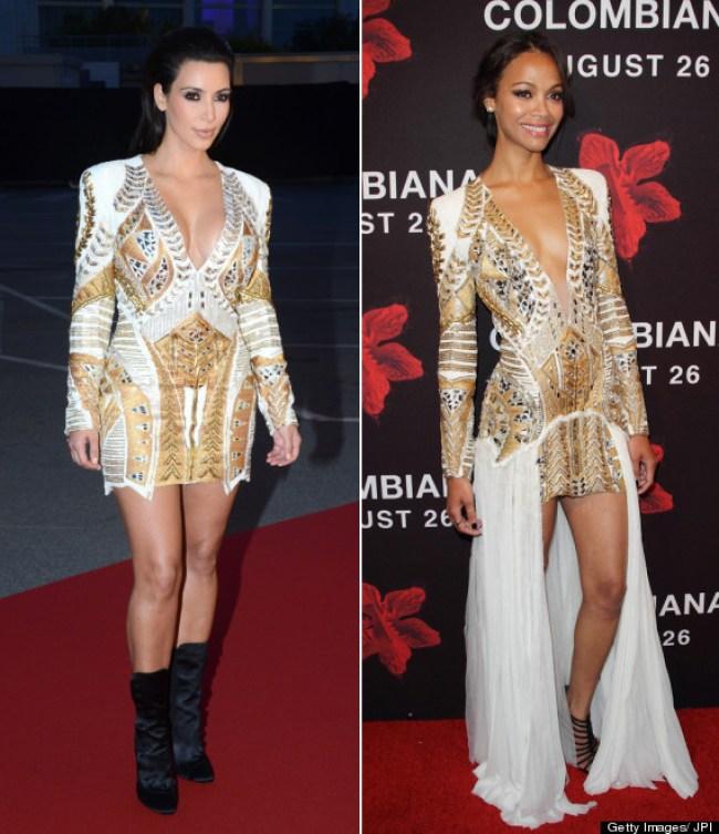 Resultado de imagen de kim kardashian y zoe saldaña mismo vestido