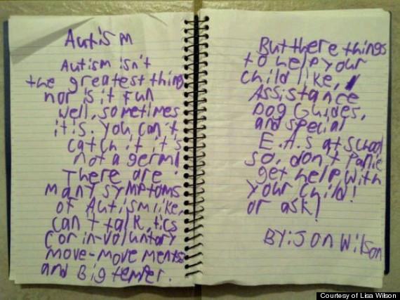 cute kid note autism