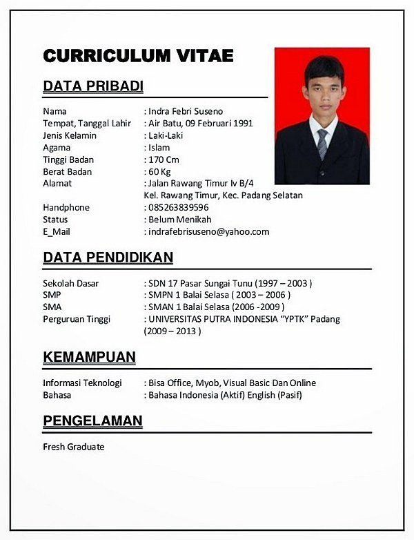 Contoh CV Fresh Graduate by deskgram.org