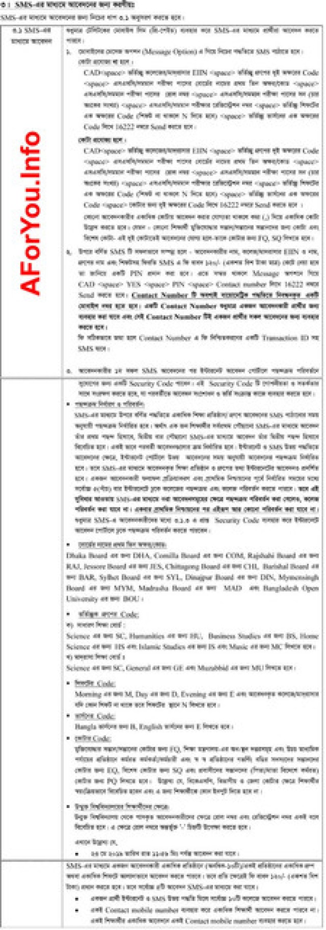 Apply SMS Option of XI Class Admission
