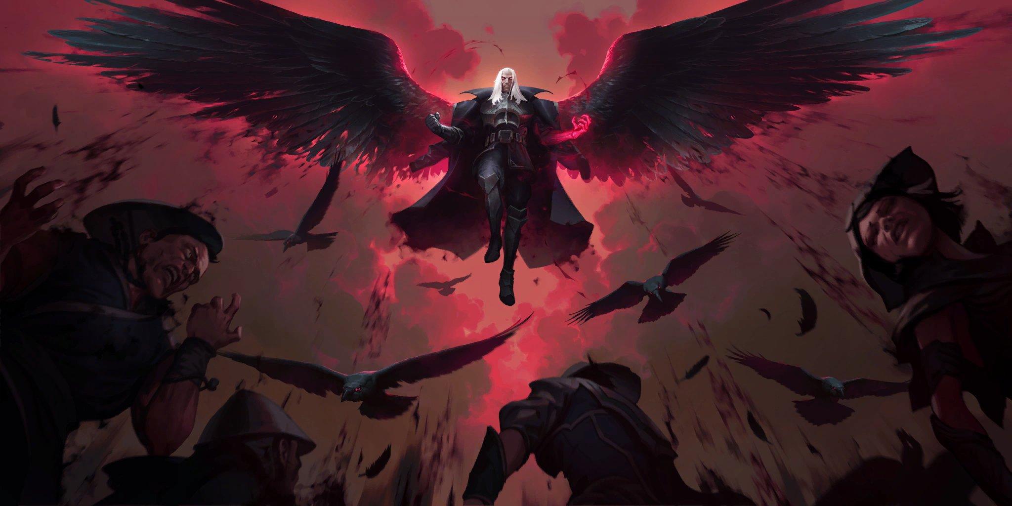 Nhờ bàn tay của anh ấy, Noxus sẽ trỗi dậy!  Xếp hạng New Legends of Runeterra Champion Swain & amp;  Người theo dõi anh ấy · Legends of Runeterra (LoR) · RuneterraCCG.com