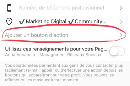 Compte Business appel à l'action