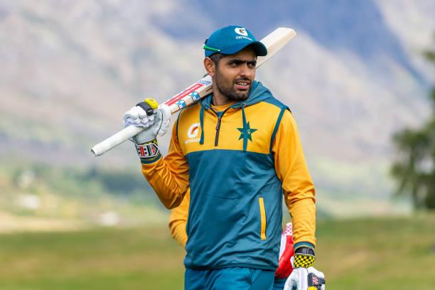 QUEENSTOWN-NEW-ZEALAND-DECEMBER-09-Pakistan-captain-Babar-Azam-looks-on-during-a-team-training-sessi