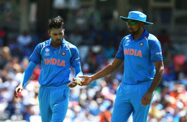 L-R-Ravichandran-Ashwin-of-India-and-Hardik-Pandya-of-India-during-the-Investec-International-match-