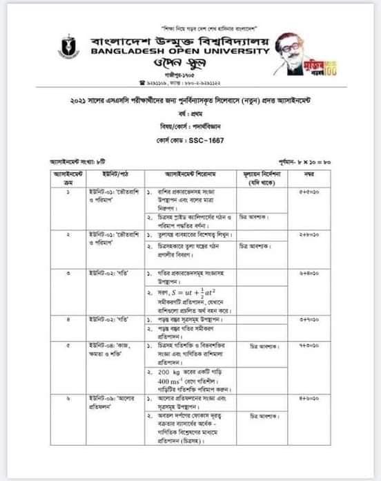 Bangladesh Open University BOU SSC Assignment Answer 2021 Pdf download 42